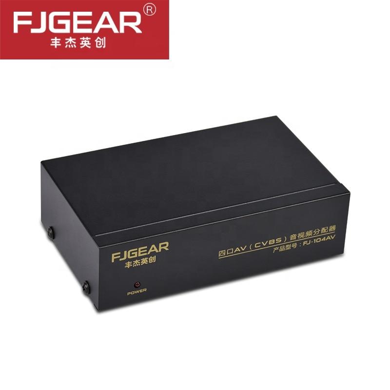 Distribuidor divisor de audio y vídeo RCA AV de 4 puertos 1 entrada a 4 salidas con adaptador de corriente