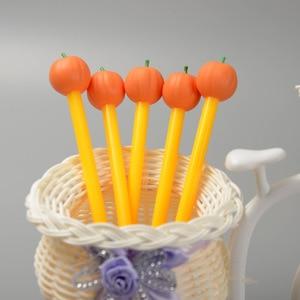 24 Pcs New Creative Pumpkin Head Pen Student Stationery Silica Gel Neutral Pen Moyi Pumpkin  Kawaii School Supplies