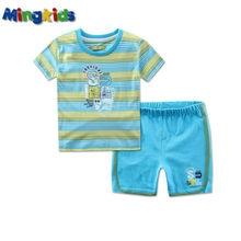Mingkids-ensemble costume en coton bleu marine   Vêtements dété de marque pour enfants, pour nouveau-né, exportation Europe