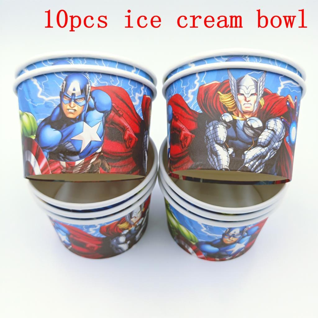 10 unids/lote de tazas de helado de Los Vengadores, suministros de fiesta de cumpleaños para niños, cuencos de helado de Los Vengadores, venta al por mayor de tazas de hielo