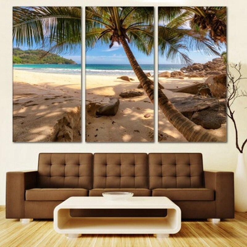 3 paneles, hermosas palmeras, paisaje moderno, arte de pared, lienzo, impresión, cuadro, decoración del hogar, arena, playa, arte, Dropshipping