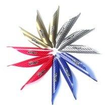 50 piezas más nuevas Vanes giratorios de arco 1,56/1,75/2 pulgadas espiral pluma ala derecha DIY flecha tiro con cinta flecha Accesorios