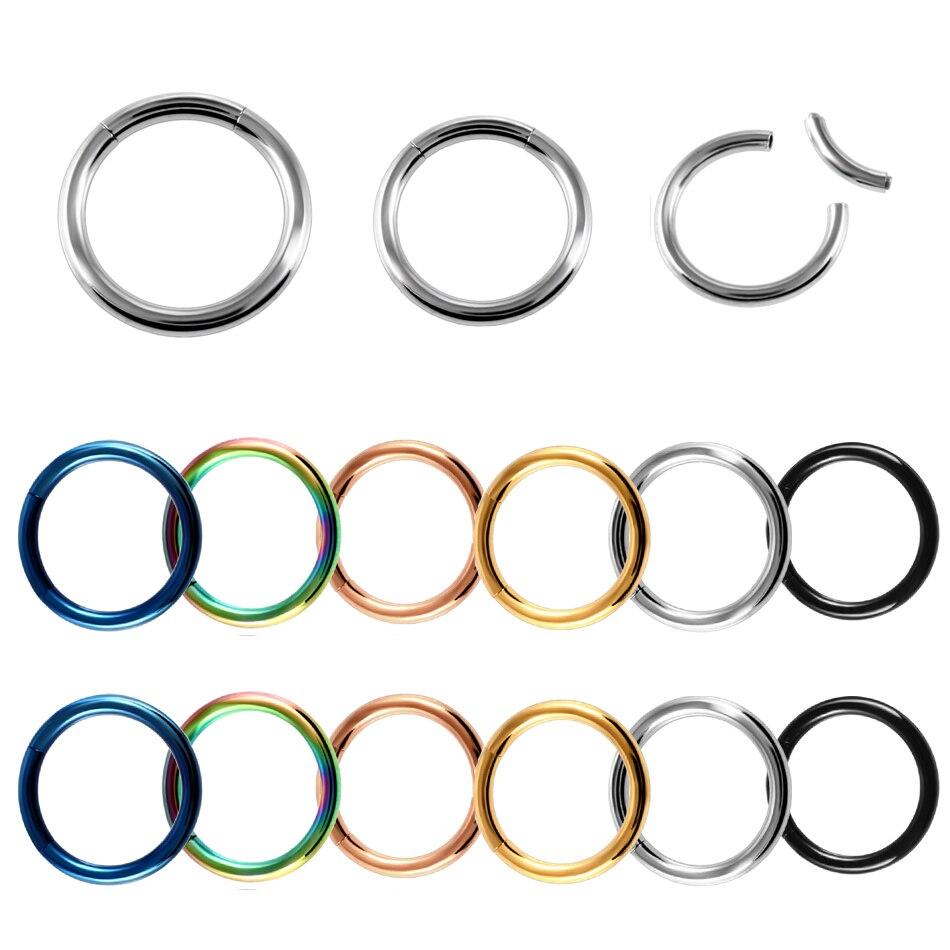 2Pcs Steel Segment Ring Ear Piercing Nose Rings Captive Ear Nose Septum Hoop Clip on Lip Piercing Rings for Unisex Jewelry 16G