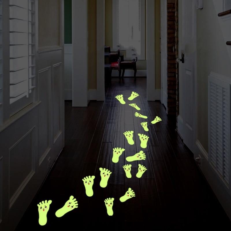 5 par/set de pegatinas luminosas de dibujos animados para pared, para cartel para piso, murales fluorescentes que brillan en la oscuridad, calcomanías de pared para habitaciones de niños