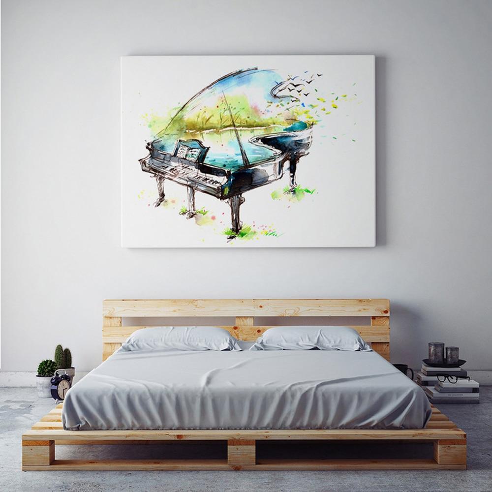 Акварельная картина на холсте, фортепианная гитара, скрипка, картина маслом, современный музыкальный инструмент, настенная живопись, карти...