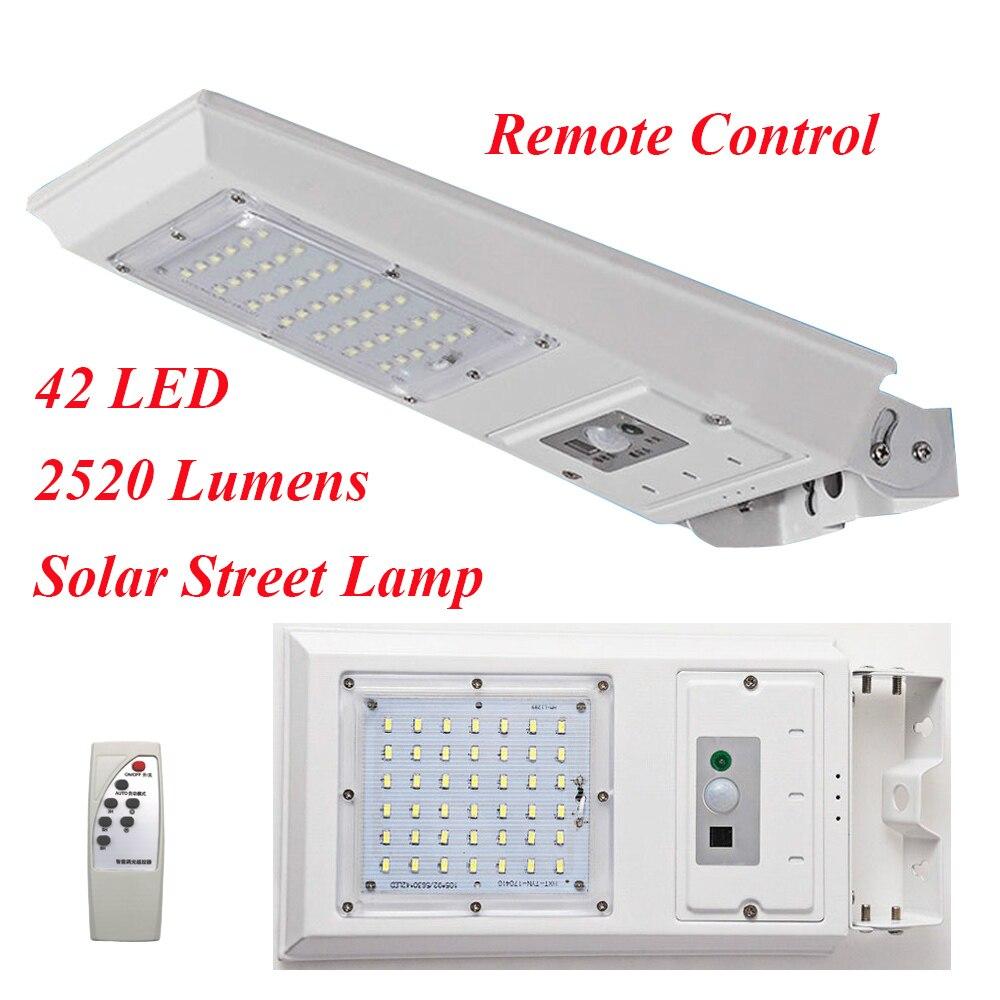 42 LED 2520 lúmenes Control remoto Solar LED lámpara infrarroja PIR detección de movimiento impermeable LED calle pared Luz de jardín al aire libre