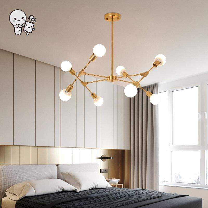 Lámpara colgante moderno escandinavo DIY de grano mágico de hierro negro dorado lámpara de techo Lustre Foyer dormitorio E27 bombilla