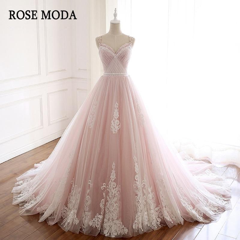 فستان زفاف وردي مغبر ، فستان زفاف من الدانتيل ، برقبة على شكل V ، زهور ، صور حقيقية ، وردي