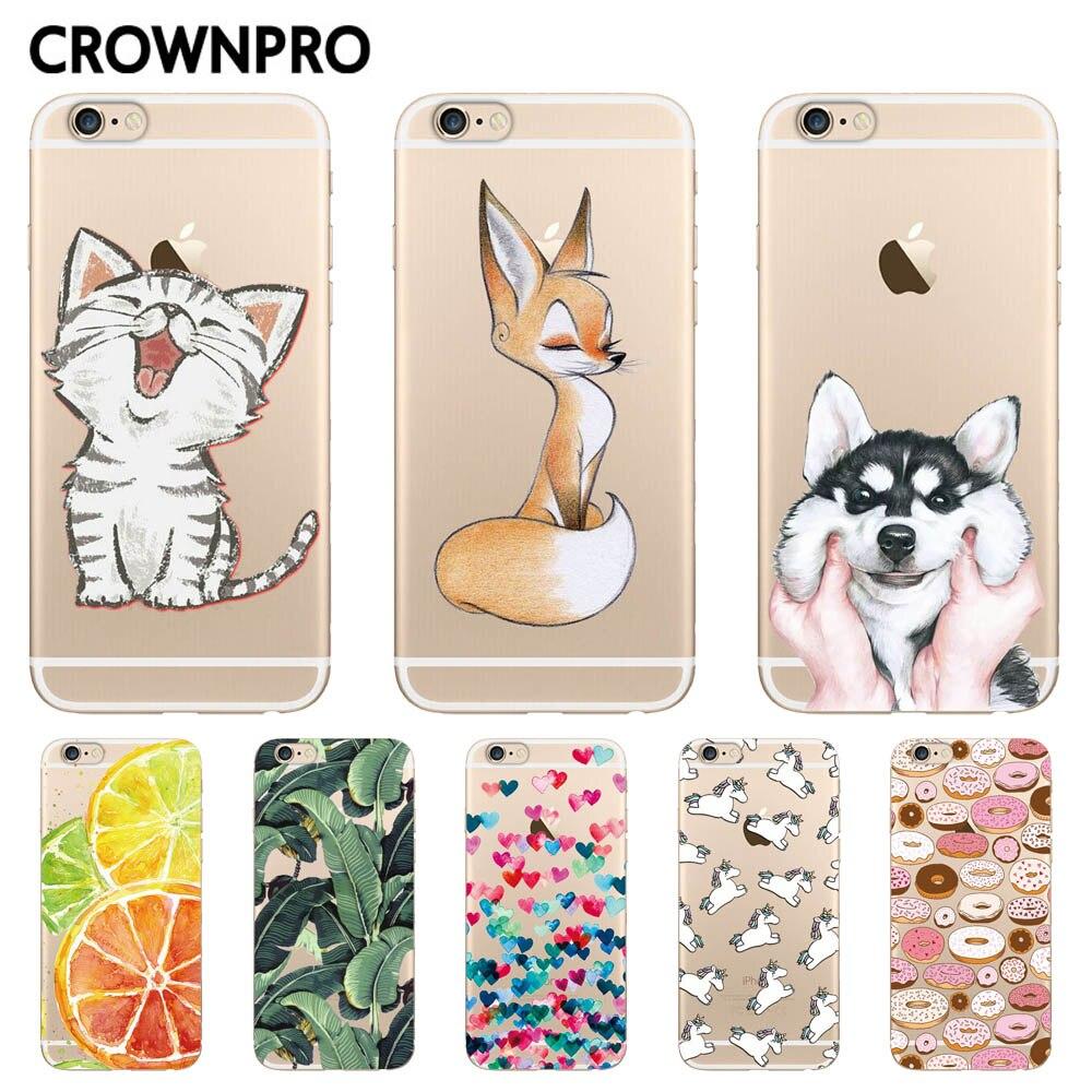 Funda de silicona CROWNPRO para iPhone 7 7Plus 6 6S 6Plus 5 5S SE, funda suave de TPU transparente para Capa iPhone 6S 8Plus X flor gato zorro