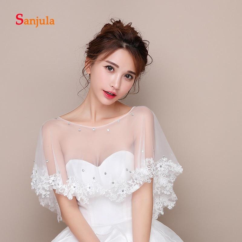 Stunning Beaded Lace Appliques Bridal Wraps 2019 Appliques Elegant Wedding/Evening/Prom Capes Accessories Bolero W32