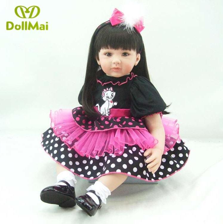 60cm Silicone Reborn Baby Doll Toys For Children Girls Bonecas 24inch Princess Babies Vinyl Toddler modeling doll Present