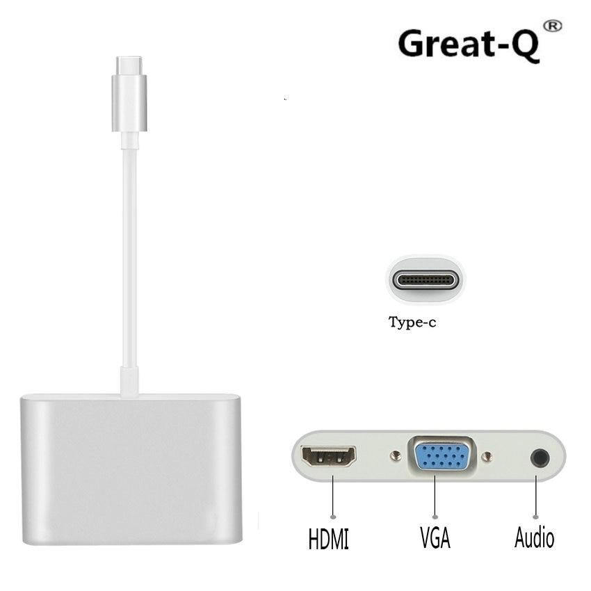 Great-Q  USB 3.1 Type-C HUB to HDMI VGA 3.5mm Audio Ports for MacBook Pro/Pixel/HP /Asus  3/LG V20/Nexus 6P  TV Video Converter