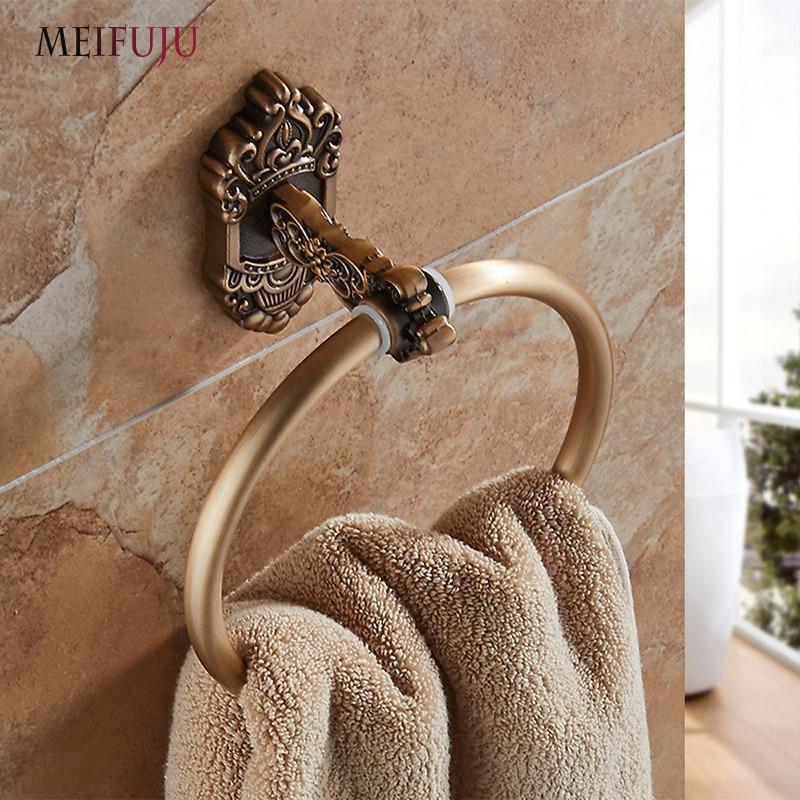 MEIFUJU-حلقات منشفة مزخرفة ، حلقة بيضاء عتيقة ، مثبتة على الحائط ، ملحقات الحمام ، حامل حلقة المنشفة ، أجهزة الحمام MFJ7160