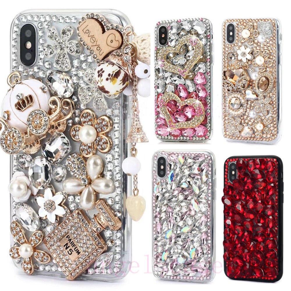 NUEVA cubierta del Rhinestone caso por XR Xs Max carcasa ostentosa de borde suave teléfono enjoyado casos para iPhone 6 6S 7 7 8 Plus Galaxy S10 S9 S8 S7