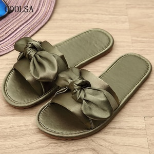 Летние дамские слипперы обувь с бантом атласные плоские сандалии для пляжа женские мягкие домашние шелк шлепанцы домашние сандалии, шлепан...