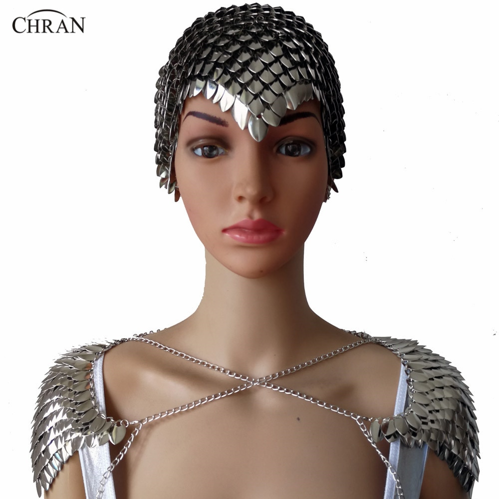 Chran, новинка, Женская Панк цепь, металлический слой, головной убор, головная повязка на лбу, наплечное ожерелье, украшения для тела CRS202