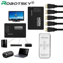 Qualité supérieure CR2025 batterie 5 ports 1080P vidéo HDMI commutateur répartiteur IR Remote pour HDTV PS3 Xbox 360 DVD