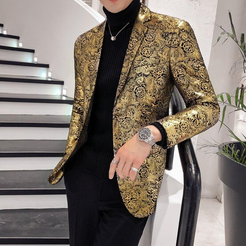 2018 роскошный мужской блейзер с золотым принтом, бархатный пиджак, блейзер Masculino, приталенный мужской блейзер в британском стиле, Мужская футболка размера плюс 5Xl