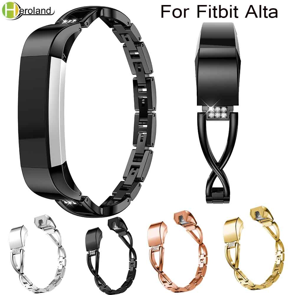 Alloy steel Rhinestone bling High Quality Replacement Wristband Band Strap Bracelet For Fitbit Alta/For Fitbit Alta HR WatchBand new high quality genuine stainless steel watch bracelet band strap for fitbit alta hr for fitbit alta watch wrist strap bands