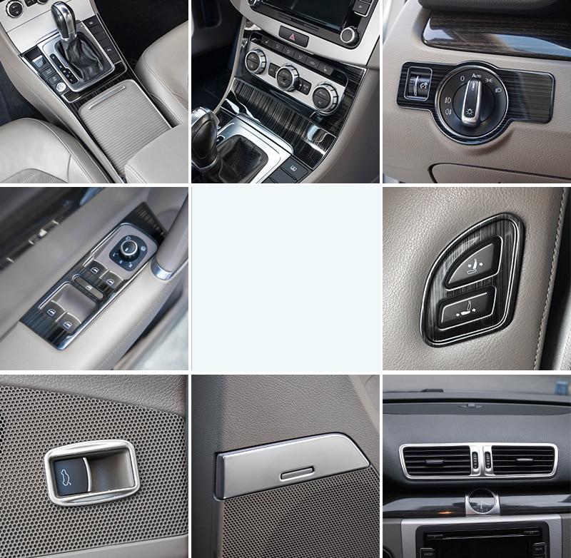 Decoração interior do carro styling trims aço inoxidável lsrtw2017 para volkswagen passat b7 2011 2012 2013 2014 2015 2016 B7