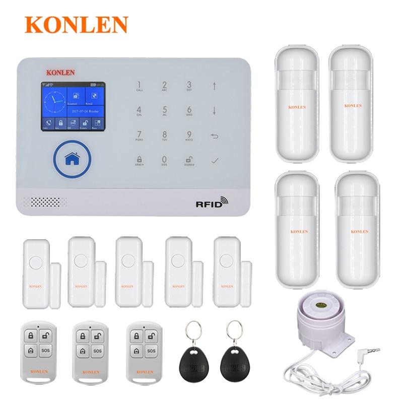Sistema de alarma de seguridad antirrobo para el hogar WIFI GSM, Kits inalámbricos con Control de aplicaciones, tarjeta RFID, Panel de alerta SMS, Sensor de voz táctil LCD PIR para puerta