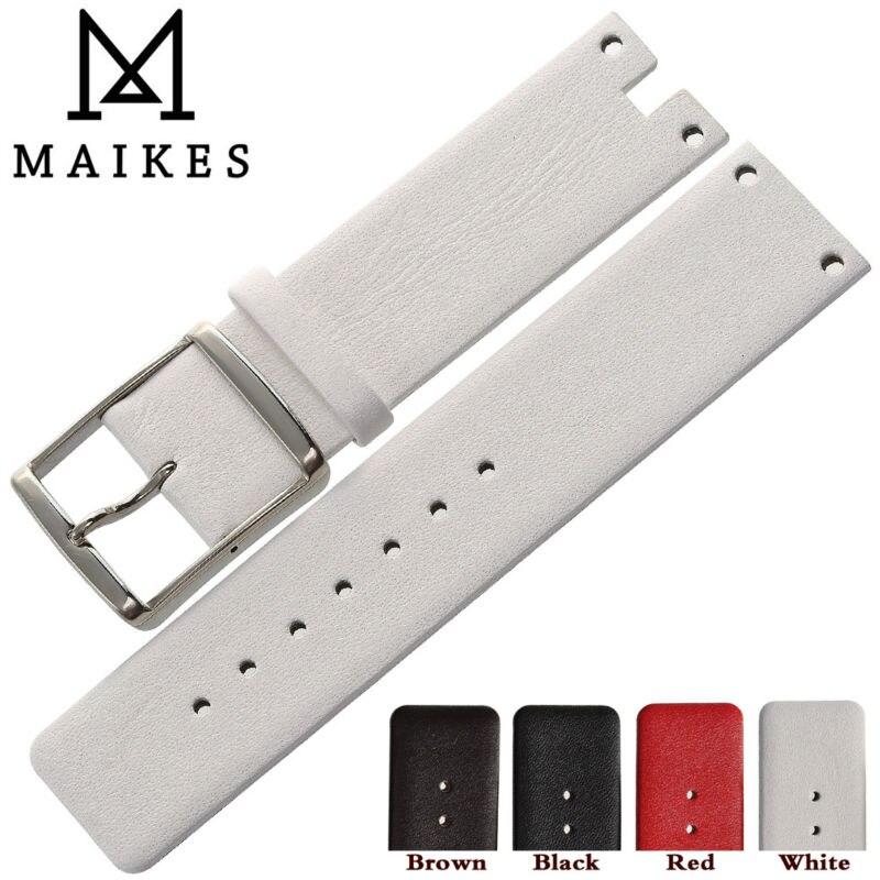 MAIKES nueva buena calidad de cuero genuino correa de reloj para CK Calvin Klein K94231 blanco negro correa de reloj fino