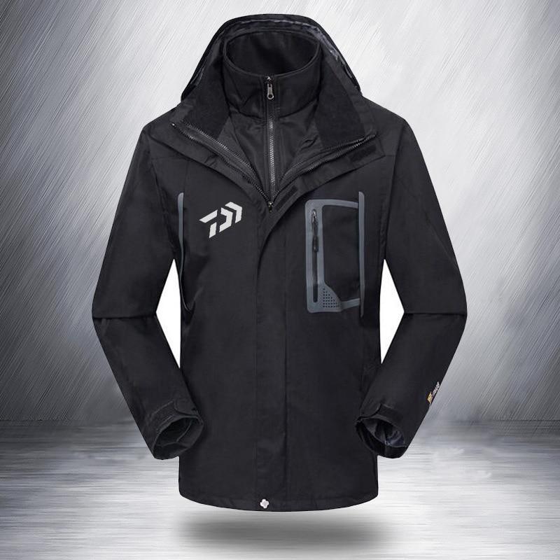 2019 Otoño Invierno chaquetas de pesca DAIWA impermeables gruesas y cálidas senderismo ropa de pesca para hombre 2 piezas abrigo de plumón ropa al aire libre