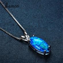 Bamos nouveau Style ovale mystérieux océan bleu feu opale pendentif colliers pour les femmes couleur argent fête bijoux cadeaux