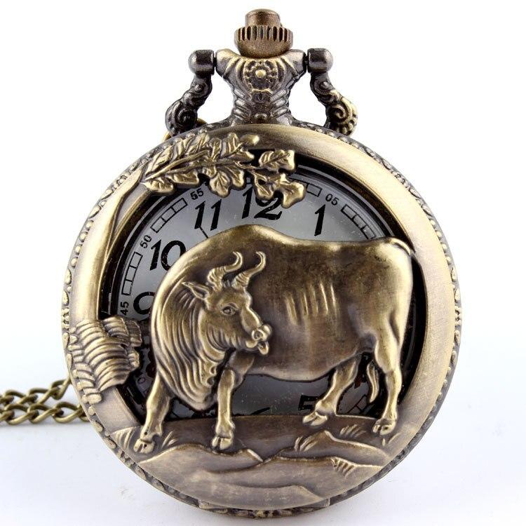 Dropshipping reloj de bolsillo de cuarzo de bronce de vaca para hombre, colgante para mujer, collar de cadena FOB, gran oferta, signos del zodiaco chino, reloj de regalo Masculino