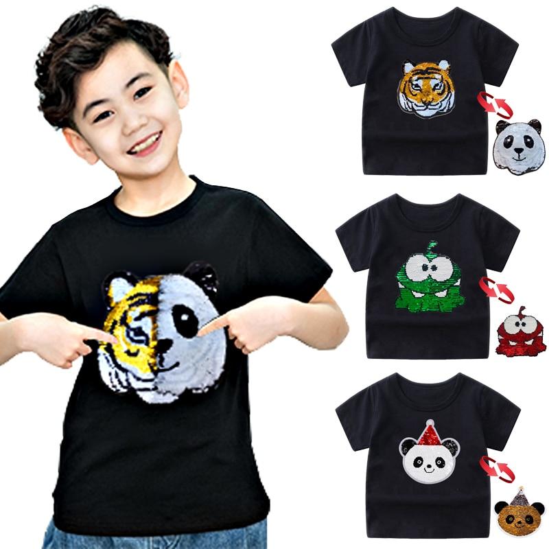 Детская футболка с рисунком панды, тигра, динозавра, блесток, футболки для мальчиков, Детская футболка летние топы с рисунком, футболки для малышей, одежда