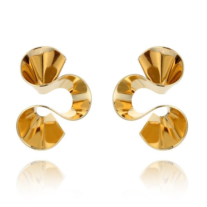 New Fashion Jewelry Geometric Spiraly Flower Glossy Face Stud Earrings For Women Girls Nice Gifts Hyperbole Ear Bijoux Brincos