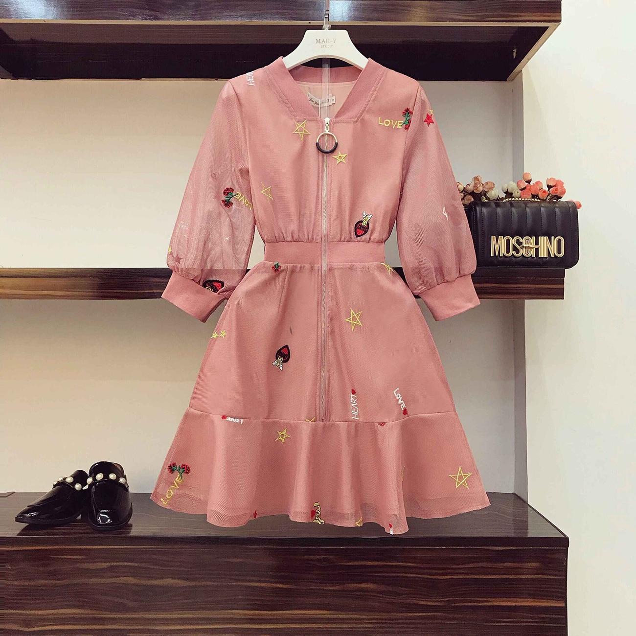 2019 Novo Verão Moda Floral Bordado Eugen Vestido de Gaze para As Mulheres V Pescoço Zipper Vestido De Fada Rosa de Cintura Alta Princesa vestido