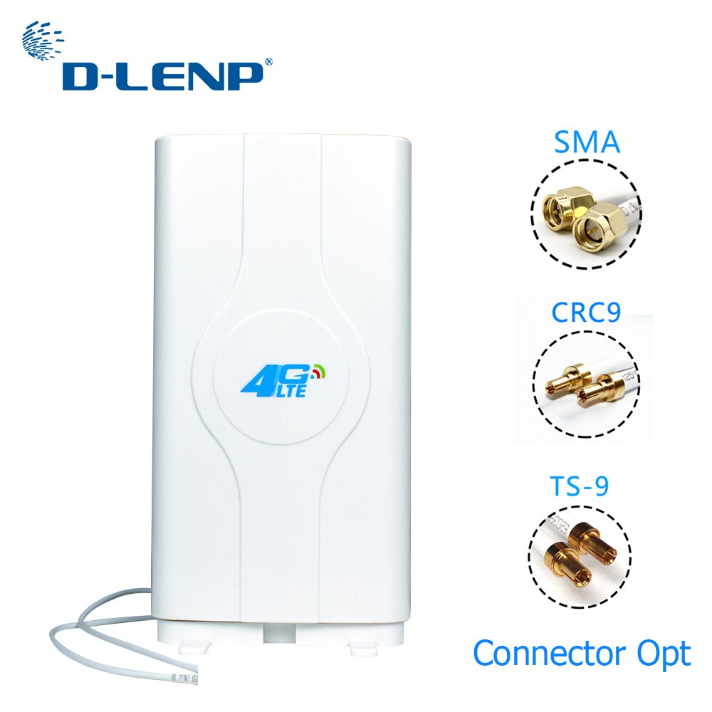 Dlenp 4G LTE MIMO antena 700-2600Mhz con 2- TS9/ CRC9/ SMA conectores macho Antena de Panel de refuerzo con Cable de 2M 88dBi