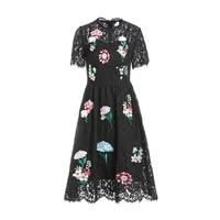 high quality 2019 spring summer new women dress temperament embroidery flowers round neck short sleeved high waist ladies dress