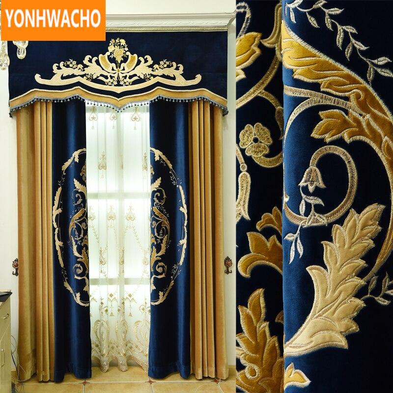 Personalizado cortinas de costura bordado a laser luxo clássico europeu quarto pano cortina blackout tule valance drape b024