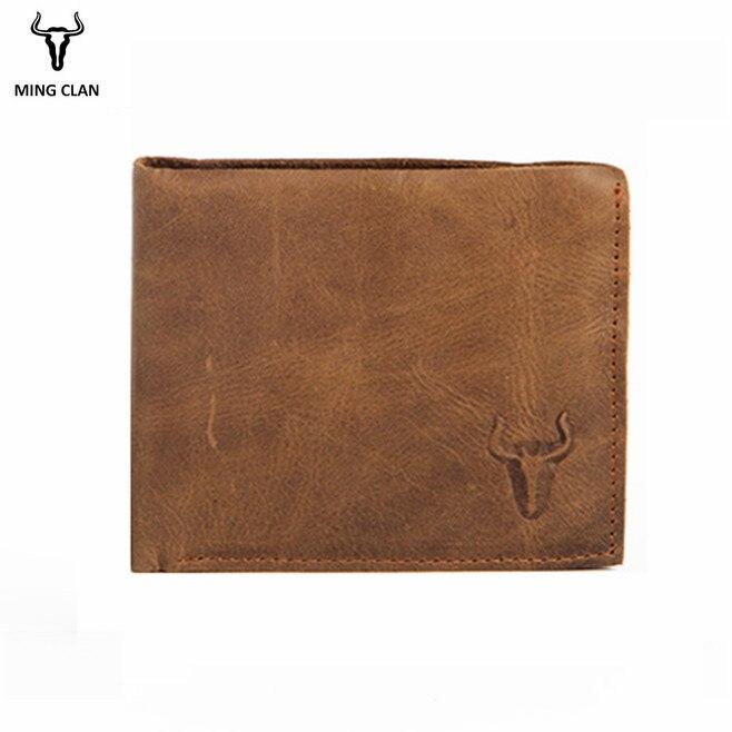 Mingclan Crazy Horse Genunie Leather Organizer Mens Wallets Vintage Unisex Card Holders Purses Rfid Male Wallet Pocket