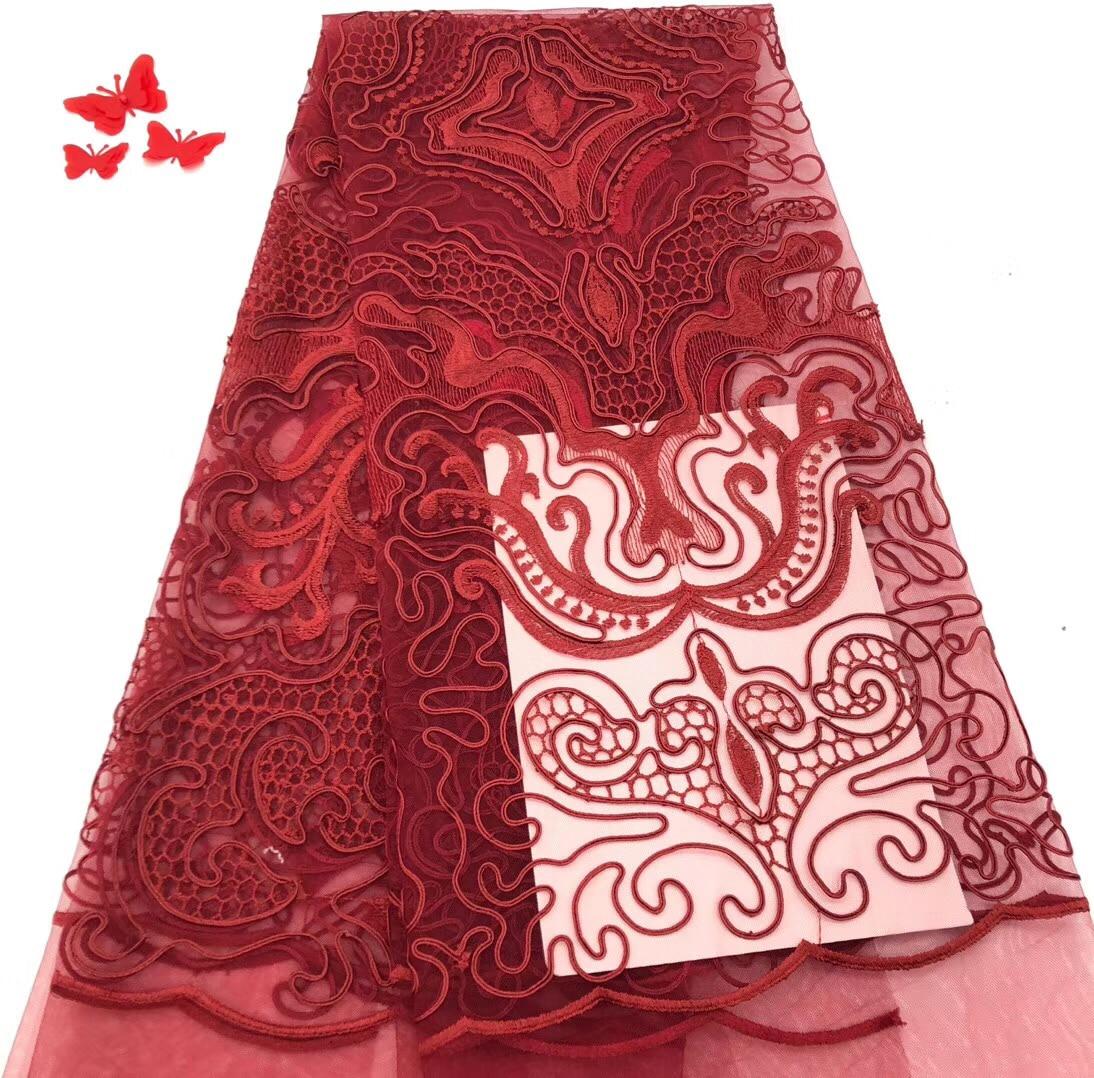 2018 африканская 3D кружевная ткань швейцарская вуаль высокого качества красная лазерная резка кружева ткань вышитая нигерийская для свадьбы