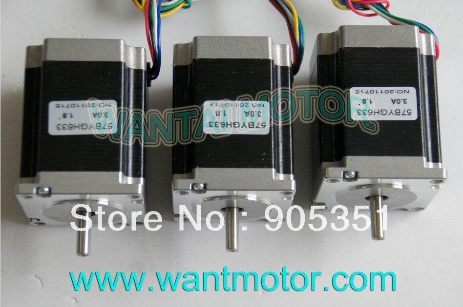 SALE--3PCS CNC NEMA 23 Wantai Motor paso a paso 6 cables, 270ozin, 1,8 grados, 57BYGH633 78mm, ¡equipo de fresadora CNC! ¡Alta calidad!