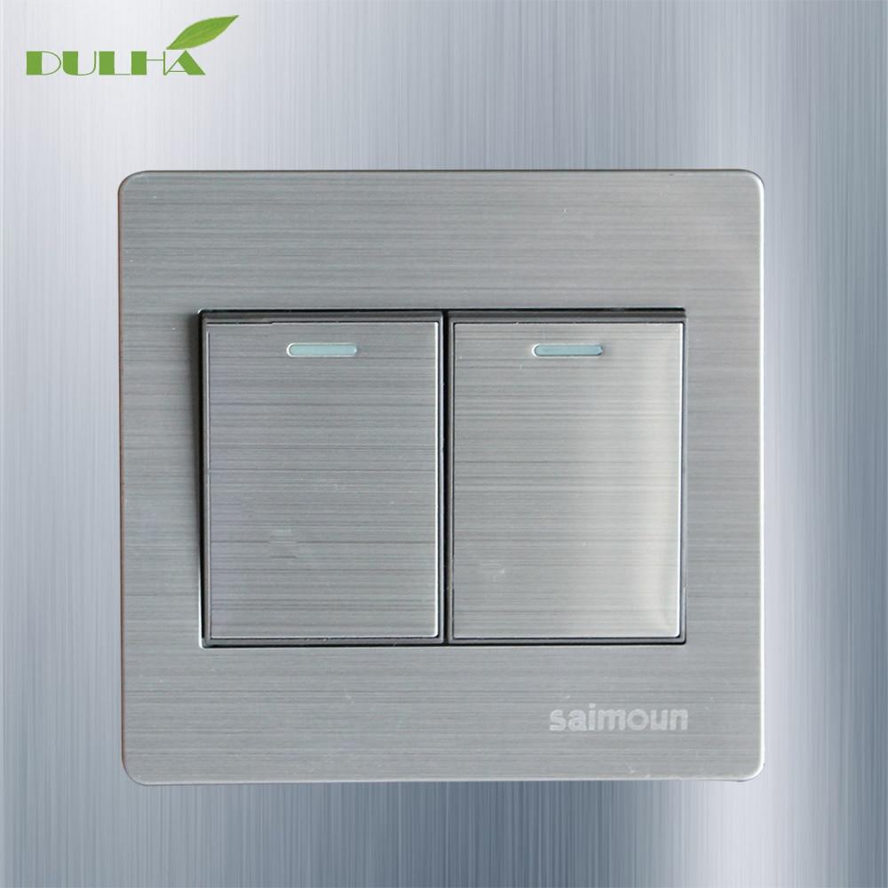 Interruptor de pared de luz de 1 vía 2 Gang 10A 110 ~ 250V 220V interruptores de lámpara de botón eléctrico de Metal satinado de lujo Panel DE ACERO INOXIDABLE