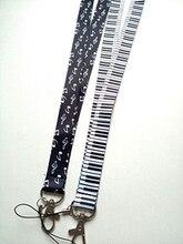 5 uds música teclado llavero en forma de nota musical cordón Tarjeta de Identificación soportes de dibujos animados correas de cuello de Teléfono con llavero DH-8
