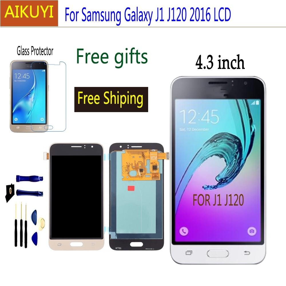 Amoled j120 lcd para samsung galaxy j1 2016 j120 lcd j120f j120m j120h display lcd de tela toque digitador assembléia substituição