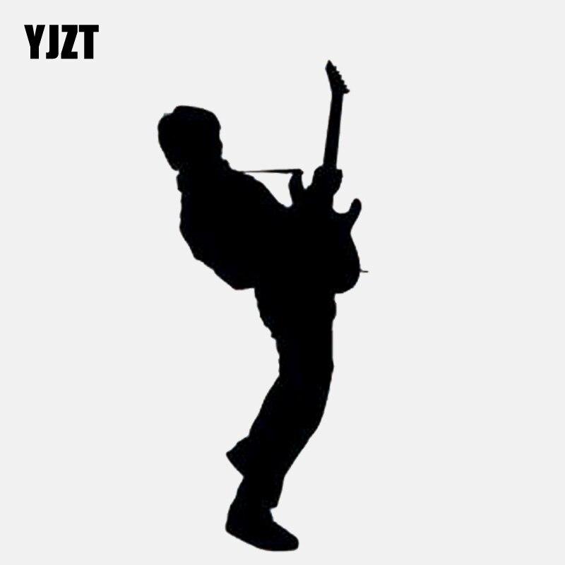 Yjzt 6.3cm * 14.7cm criativo guitarra jogador rock vinly decoração etiqueta do carro C22-0590