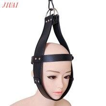 BDSM Fetish Mask Sexy Costume Erotic PU Leather Hood Black Mask Open Eye Bondage Headgear Cosplay Slave Sex Toys For Man Women