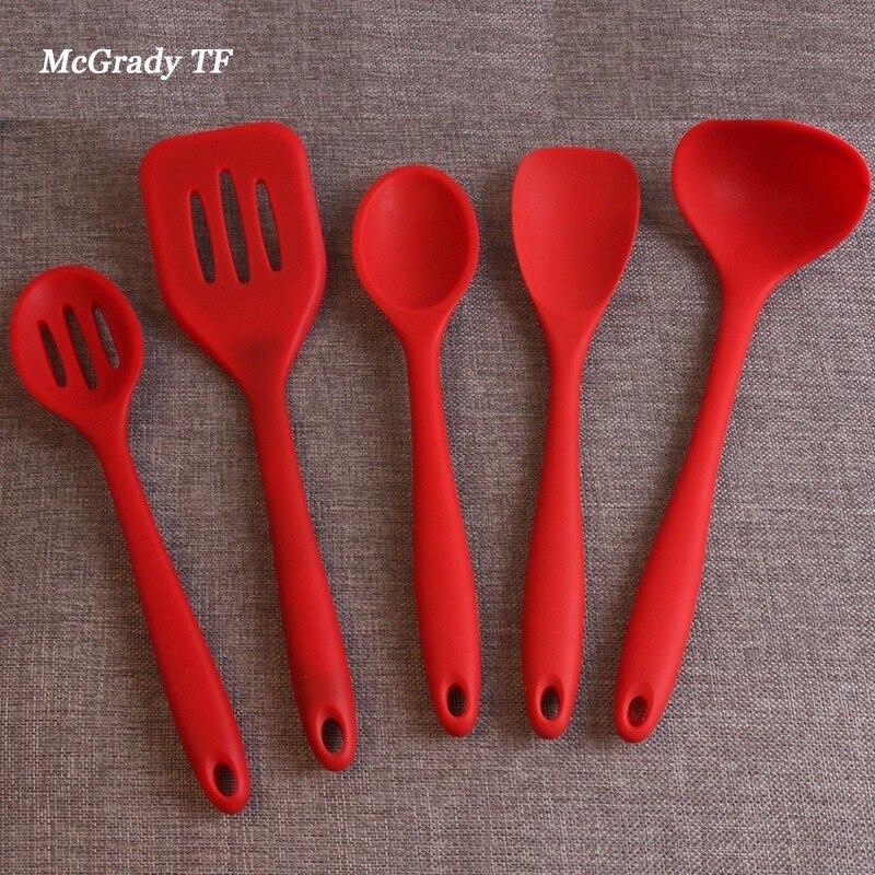 Mac de Silicona Utensilios de Cocina, Utensilios De Cocina Set Espátula de 5 Unidades, patrocina, cuchara, Servidor de espaguetis, Turner ranurado. Herramientas de cocina