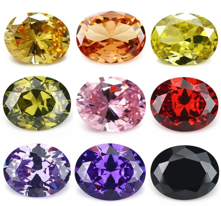 50pcs 2x3~13x18 AAAAA Oval Shape Golden Yellow , Voilet,Olive , Purple, Black, Pink Cubic Zirconia Stone Loose