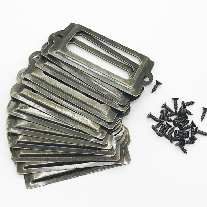 Marco de extracción de etiqueta de metal antiguo de latón soporte de Tarjeta De Nombre de archivos para muebles tirador de cajón de armario caja contenedor 12 Uds por juego
