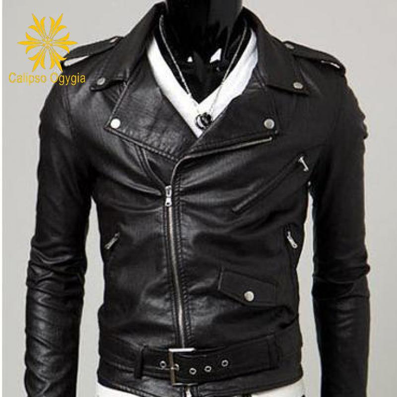 Осенняя мужская кожаная куртка с воротником, мужская кожаная мотоциклетная Кожаная Байкерская зимняя куртка, Мужская кожаная куртка и замш...