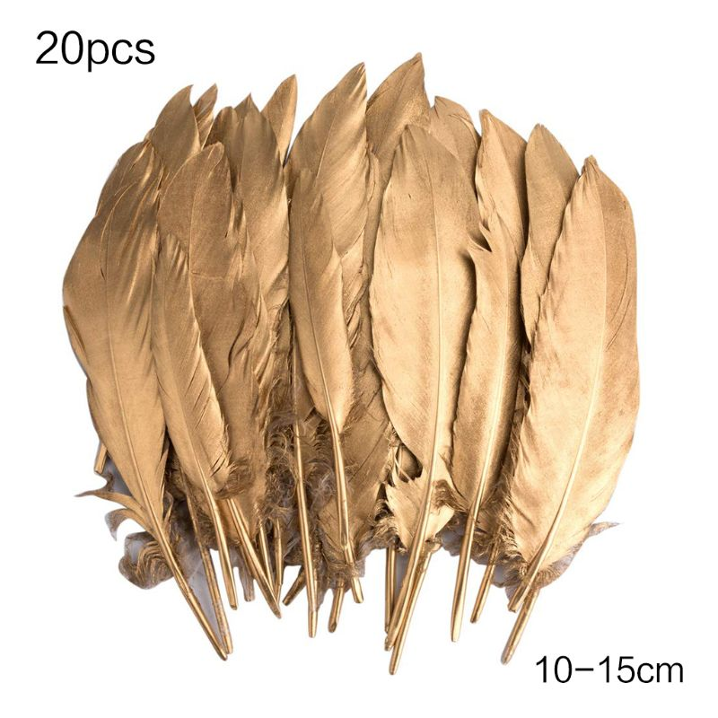 Feathers for Crafts, 20 Pcs Goose Gold Feathers for DIY Dream Catchers Craft Wedding Themed Party Centerpieces Decorations