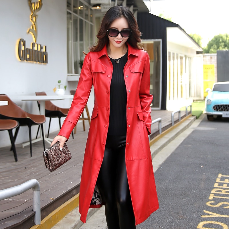 leather jacket women long design motorcycle PU leather jackets woman black red and army green leather windbreaker K6702 enlarge