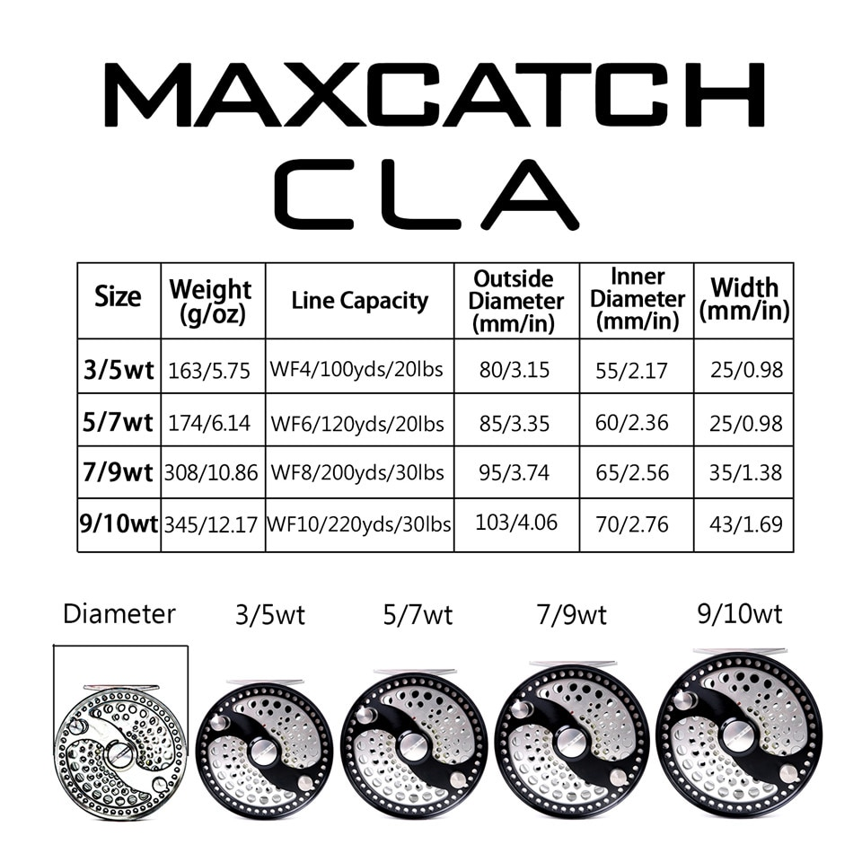 Maximumcatch CLA 3-10WT Classic Fly Fishing Reel Clicker Disc Drag System CNC Machine Cut T6061 Aluminum Fly Reel enlarge